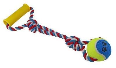 DOGMAN Игрушка для собак Мячик на канате с ручкой (35 см), d7см (фото, вид 1)