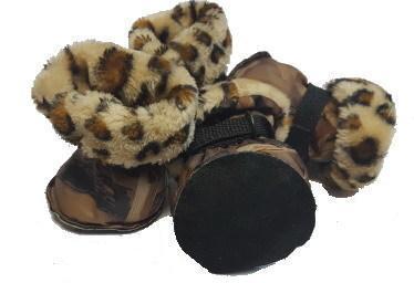 Al1 Сапожки для собак на меху леопард, бежевые, размер №5 (фото, вид 1)