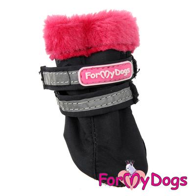 ForMyDogs Сапоги для маленьких собак, черно/красные, размер №3 (фото, вид 1)