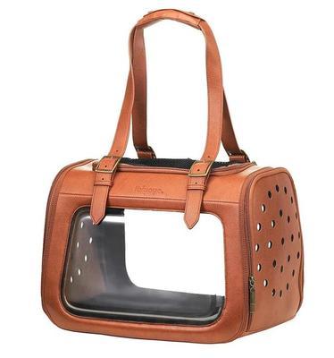 IBBI Складная сумка-переноска для собак и кошек до 6 кг прозрачная/коричневая кожа (фото, вид 1)