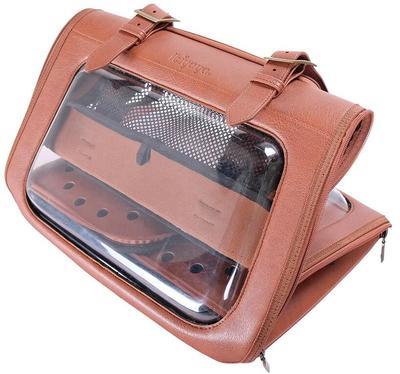 IBBI Складная сумка-переноска для собак и кошек до 6 кг прозрачная/коричневая кожа (фото, вид 2)