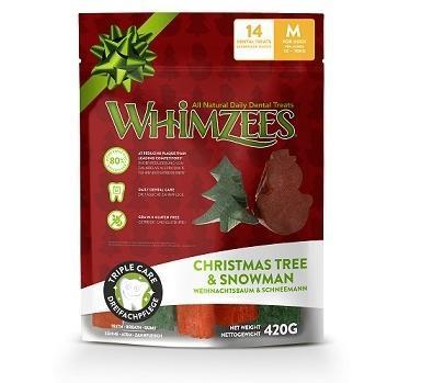 Whimzees Лакомства для собак Новогодний Микс (елочки/ снеговики), в пакете (фото, вид 1)