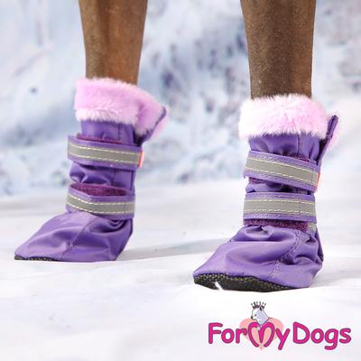 ForMyDogs Сапоги для собак из нейлона, фиолетовые, размер №1, №2 (фото, вид 2)