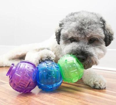 Kong Игрушка для собак Lock-It мячи для лакомств, 3 шт., d.5,7см (фото, вид 1)
