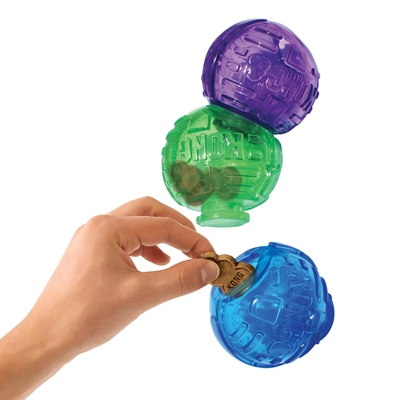 Kong Игрушка для собак Lock-It мячи для лакомств, 3 шт., d.5,7см (фото, вид 2)