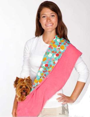 АНТ Слинг для собак 2-х сторонний, розовый/цветной микс, 83х43см, плюш/хб (фото, вид 1)