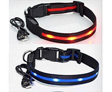 АНТ Ошейник светящийся на светодиодах Pet Collar с USB, 3 размера (фото, вид 3)