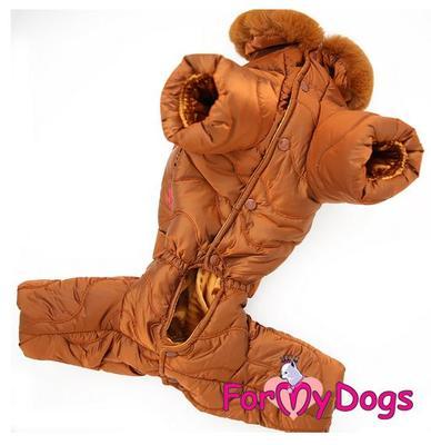 ForMyDogs Комбинезон для собак коричневый, размер 14, 16, для мальчиков (фото, вид 2)