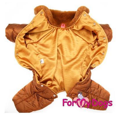 ForMyDogs Комбинезон для собак коричневый, размер 14, 16, для мальчиков (фото, вид 3)