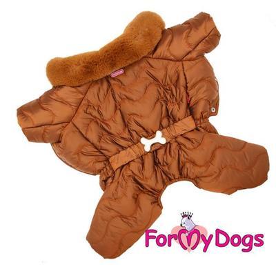 ForMyDogs Комбинезон для собак коричневый, размер 14, 16, для мальчиков (фото, вид 4)