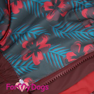 ForMyDogs Дождевик для больших собак, вишневый, модель для девочки, размер С3 (фото, вид 1)