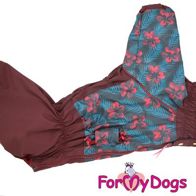 ForMyDogs Дождевик для больших собак, вишневый, модель для девочки, размер С3 (фото, вид 3)