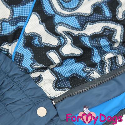 """ForMyDogs Дождевик для больших собак """"Камуфляж"""" синий, модель для мальчиков, размер С2 (фото, вид 1)"""