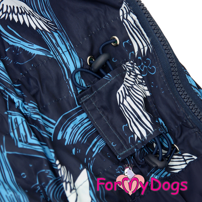 ForMyDogs Дождевик для больших собак синий, модель для мальчиков, размер С1 (фото, вид 1)