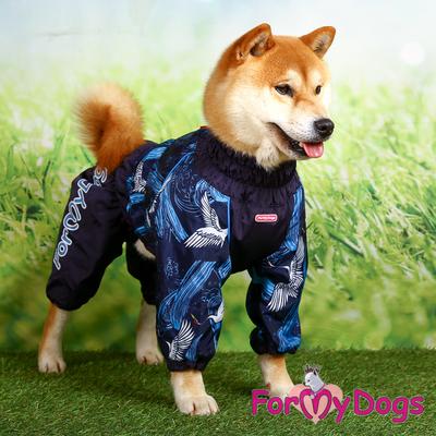ForMyDogs Дождевик для больших собак синий, модель для мальчиков, размер С1 (фото, вид 3)