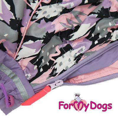 ForMyDogs Дождевик для собак сиреневый, модель для девочек, размер №22 (фото, вид 2)