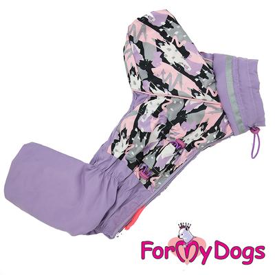 ForMyDogs Дождевик для собак сиреневый, модель для девочек, размер №22 (фото, вид 3)