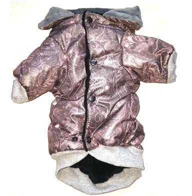 ZooPrestige Куртка для собак бежевая/сиреневая с мехом, размер XL, спина 34см (фото, вид 2)