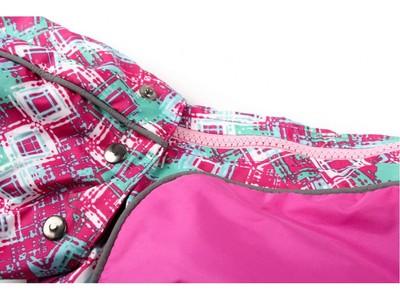 ZooPrestige Дождевик для собак Дружок, розовый/орнамент, размер М, спина 27-31см (фото, вид 1)