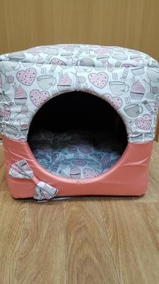 "ZooTrend Лежак для собак и кошек Кубик ""Карамель"" морковный М, 40х40х40см (фото, вид 3)"