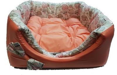 "ZooTrend Лежак для собак и кошек Кубик ""Карамель"" морковный М, 40х40х40см (фото, вид 1)"