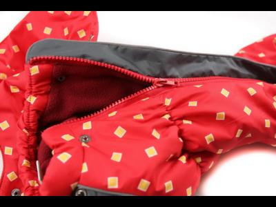 ZooAvtoritet Комбинезон на флисе для таксы, красный/ромбики, размер ТМ2, спина 38см (фото, вид 1)