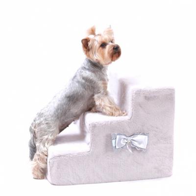 """P&D Лестница - ступеньки для собак """"Лакки"""", светло-серая 3 ступени 48x40x36 см (фото, вид 1)"""