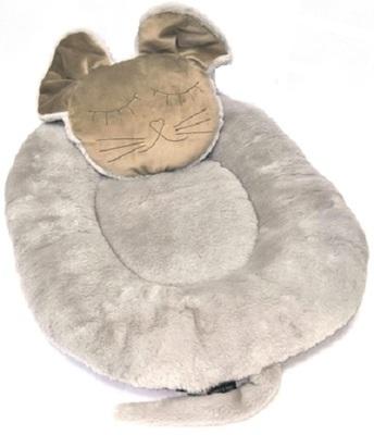 P&D Лежанка для собак и кошек из искусственного меха в форме Мышки, серая 45х44см (фото, вид 1)