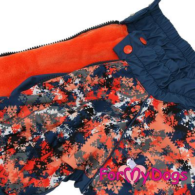 ForMyDogs Комбинезон для крупных собак сине/оранжевый, размер С2, модель для мальчиков (фото, вид 3)