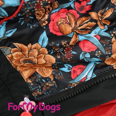 ForMyDogs Дождевик для крупных пород черный/цветы, модель для девочки, размер D3 (фото, вид 1)