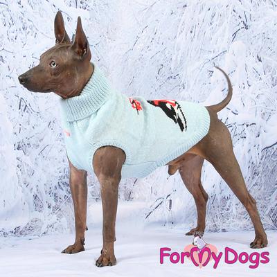 """ForMyDogs Свитер для собак голубой, вязаный """"Снeгири"""", размер №12-14 (фото, вид 4)"""