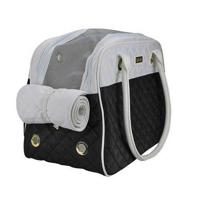 DOGMAN Сумка -переноска для собак Малибу, черно/белая, размер 42х22х28 см (фото, вид 1)