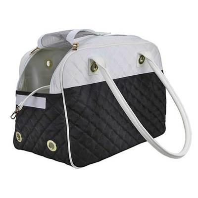 DOGMAN Сумка -переноска для собак Малибу, черно/белая, размер 42х22х28 см (фото, вид 2)