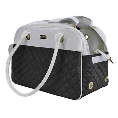 DOGMAN Сумка -переноска для собак Малибу, черно/белая, размер 42х22х28 см (фото, вид 3)
