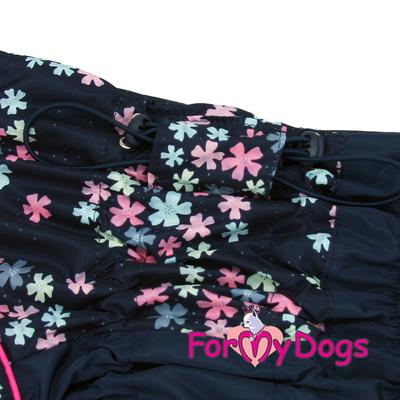 """ForMyDogs Дождевик для больших собак """"Васильки"""", темно/синий, модель для девочки, размер С2, С3 (фото, вид 1)"""