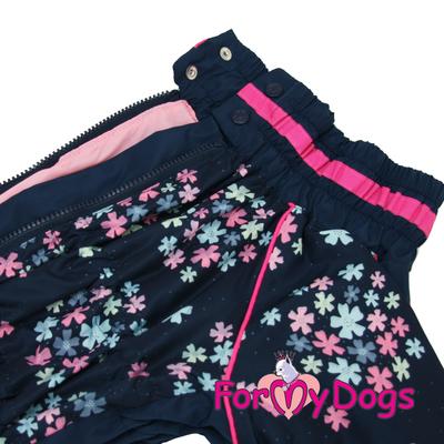 """ForMyDogs Дождевик для больших собак """"Васильки"""", темно/синий, модель для девочки, размер С2, С3 (фото, вид 2)"""