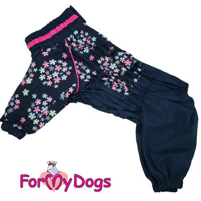 """ForMyDogs Дождевик для больших собак """"Васильки"""", темно/синий, модель для девочки, размер С2, С3 (фото, вид 3)"""