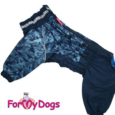 ForMyDogs Дождевик для крупных собак синий, модель для мальчиков, размер С2, С3, D1, D3 (фото, вид 4)