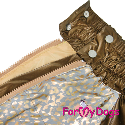 ForMyDogs Дождевик для больших собак, коричневый/золотой, модель для девочки, размер С2, С3 (фото, вид 1)