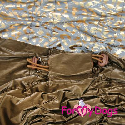ForMyDogs Дождевик для больших собак, коричневый/золотой, модель для девочки, размер С2, С3 (фото, вид 2)