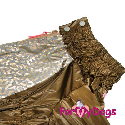 ForMyDogs Дождевик для больших собак, коричневый/золотой, модель для девочки, размер С2, С3 (фото, вид 3)