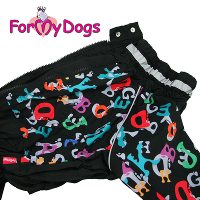 """ForMyDogs Дождевик для больших собак """"Буквы"""" черный, модель для мальчиков, размер С2, С3 (фото, вид 1)"""