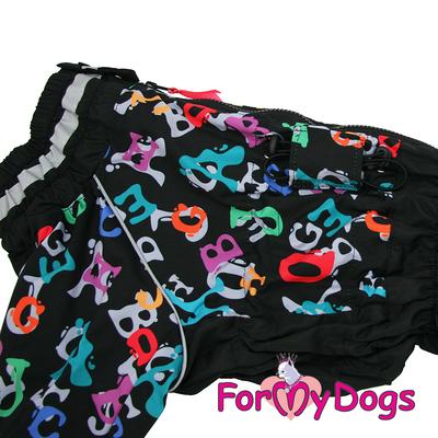 """ForMyDogs Дождевик для больших собак """"Буквы"""" черный, модель для мальчиков, размер С2, С3 (фото, вид 2)"""