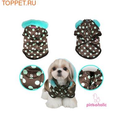 Pinkaholic Теплая куртка для маленьких собак с голубым горохом, размер L (фото, вид 1)