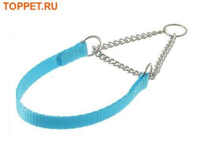 V.I.Pet Ошейник-полуудавка лента 10мм(24-33см) с цугом (никель) голубой