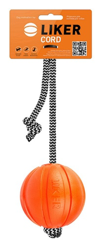 PitchDog Мячик ЛАЙКЕР Корд на шнуре, диаметр 7см