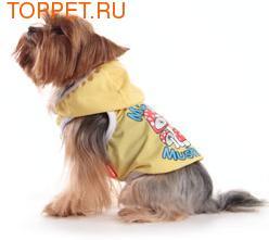 """Dobaz Майка для собак, цвет желтый, рисунок """"Мухомор""""с капюшоном размер М, L, материал сеточкой"""