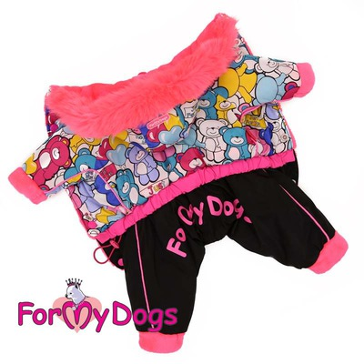 """ForMyDogs Теплый комбинезон для маленьких собак """"Мишки"""", размер 8, модель для девочек (фото)"""