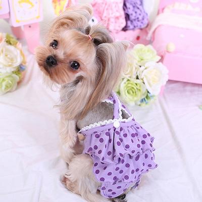 Al1 Трусики из трикотажа для собак девочек, цвет сиреневый горох, размер S, М, L