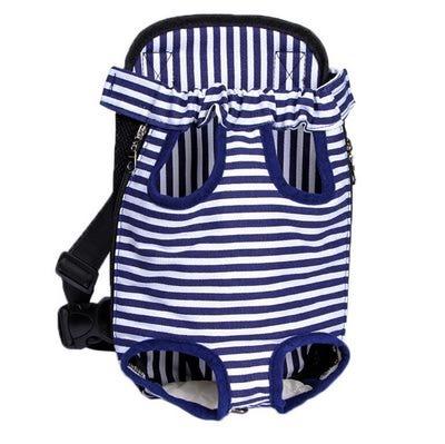 Al1 Рюкзак-переноска для маленьких животных синий в полоску, размер S, М